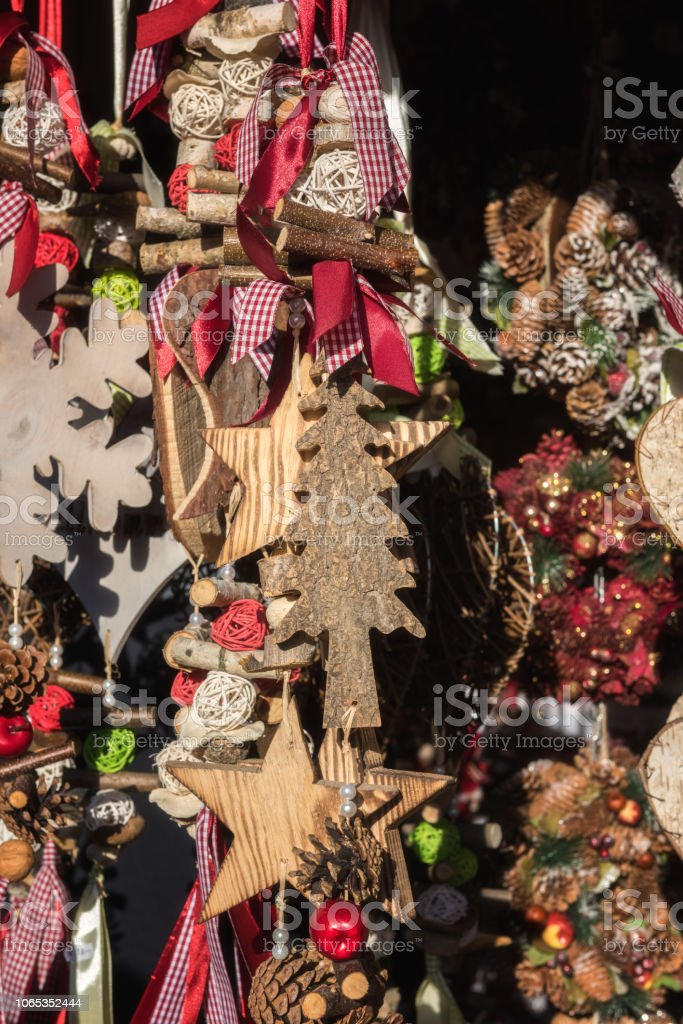 Christmas Decorations Handmade.Christmas Decorations Handmade For Sale At The Christmas Market In Vienna Austria Stock Photo Download Image Now