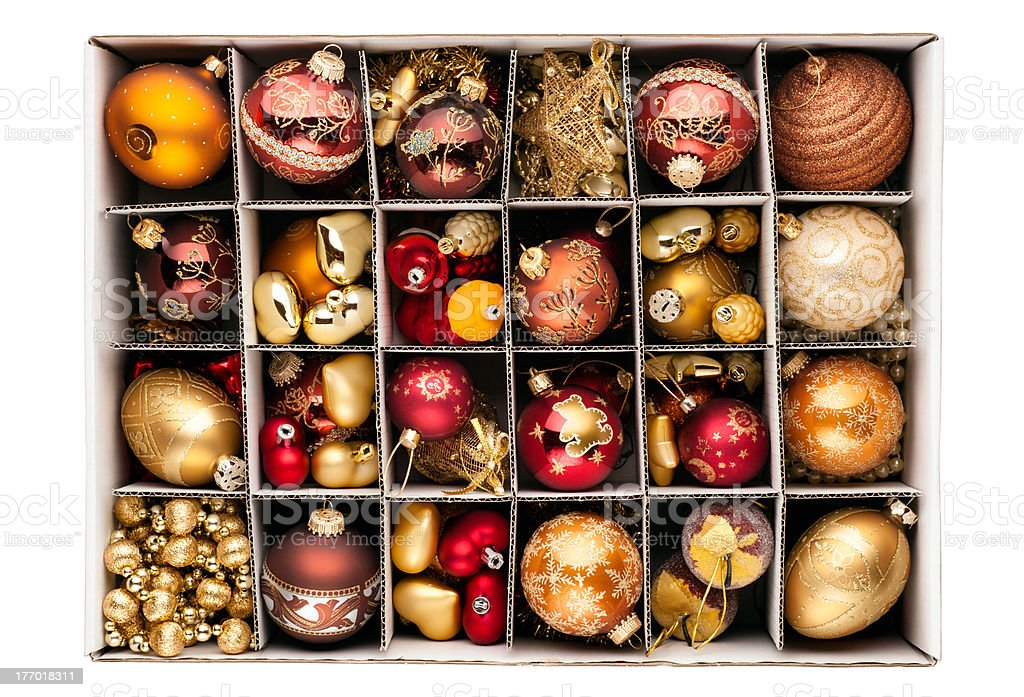 Christmas decorations in a box stock photo