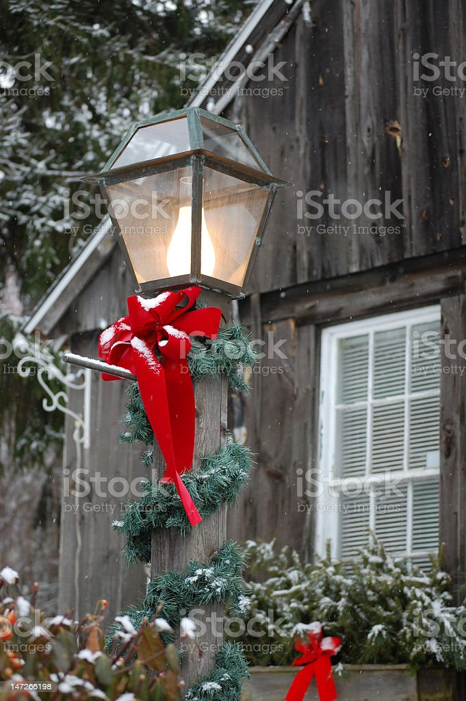 Christmas decorations in a country setting royalty-free stock photo