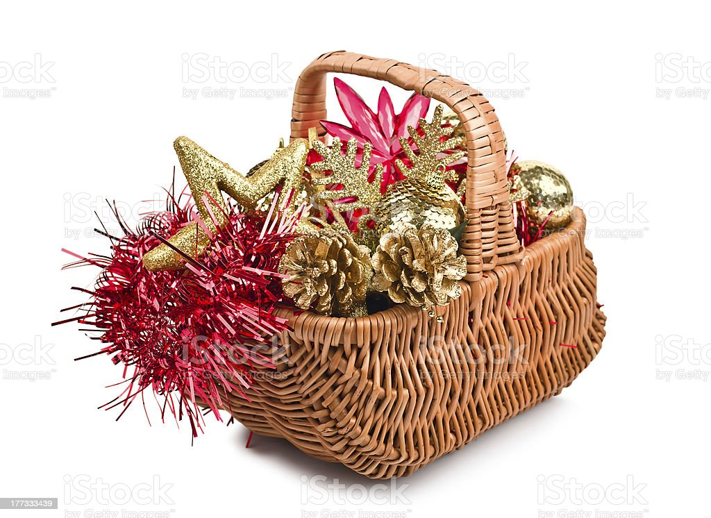 Christmas decorations in basket royalty-free stock photo