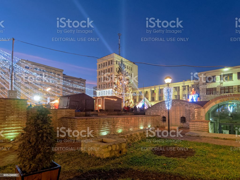 Christmas decorations in Focsani stock photo