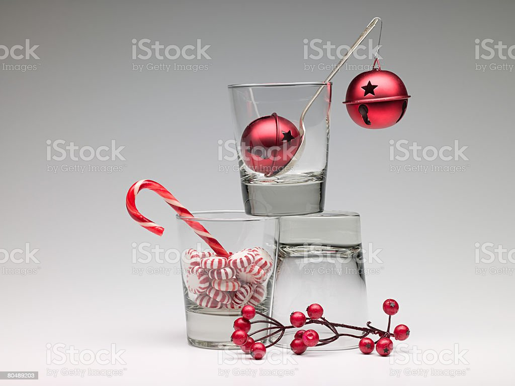 Christmas decorations in glasses royalty-free stock photo