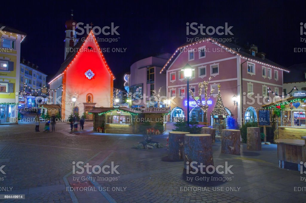 Christmas decorations in Ortisei center Italy at night stock photo
