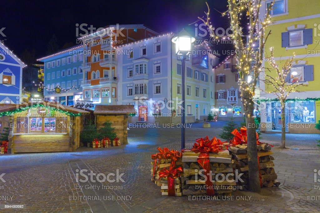 Christmas decorations in Ortisei Italy at night stock photo