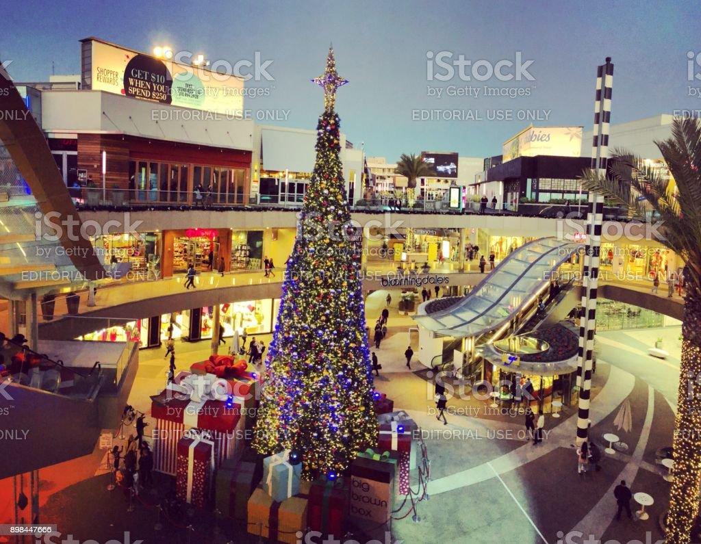 Christmas decorations in Santa Monica, CA, USA stock photo
