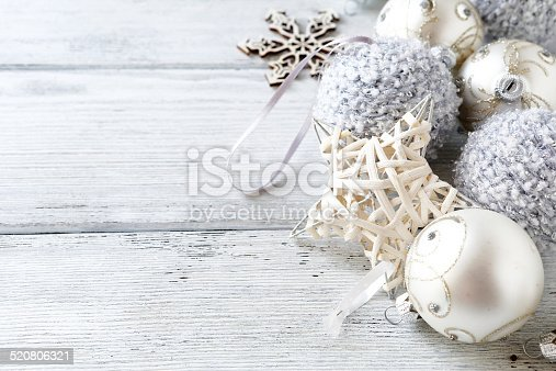 istock Christmas decorations in silver 520806321