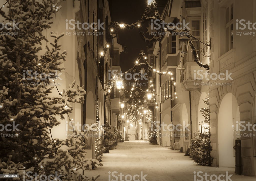 Christmas decorations in the Alps stock photo