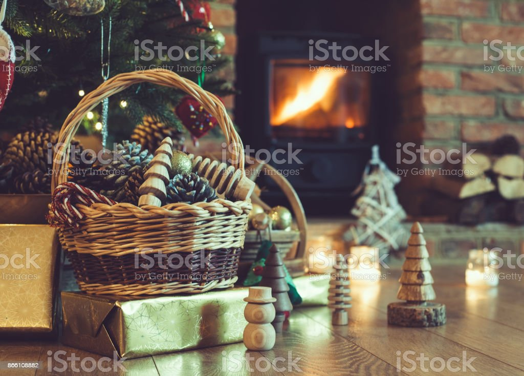 Christmas decorations in the basket stock photo