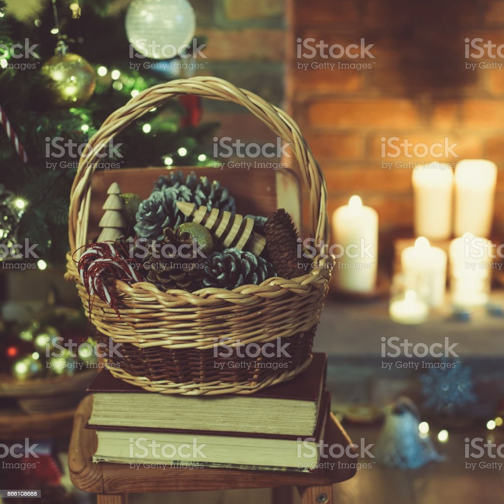 Christmas decorations in the in the basket stock photo
