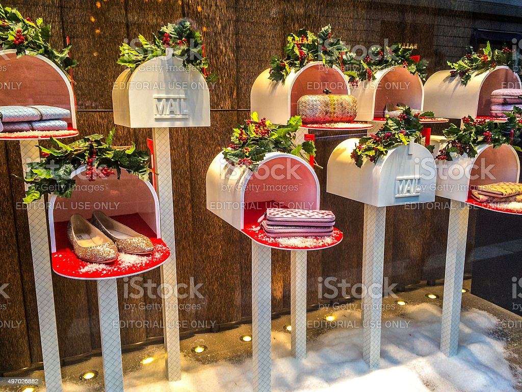 christmas decorations in window display of a store milan royalty free stock photo