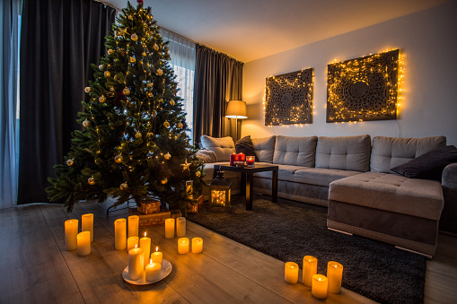 Stylish xmas festivities in a family home adorned with christmas decorations