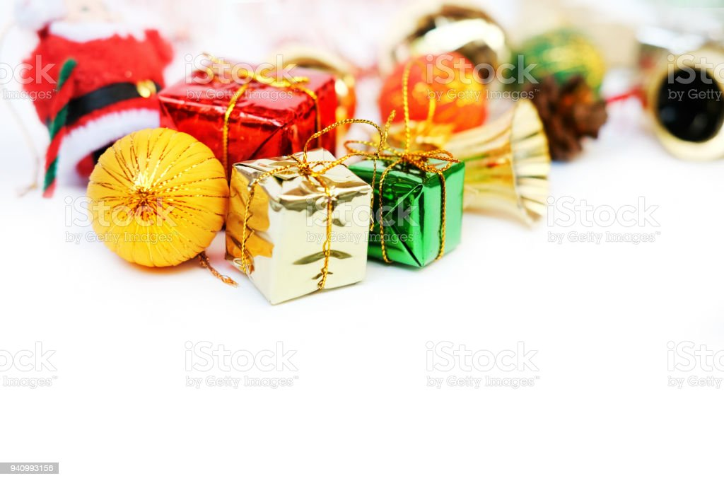 Christmas Decorations Isolate On White Background Winter Time And ...