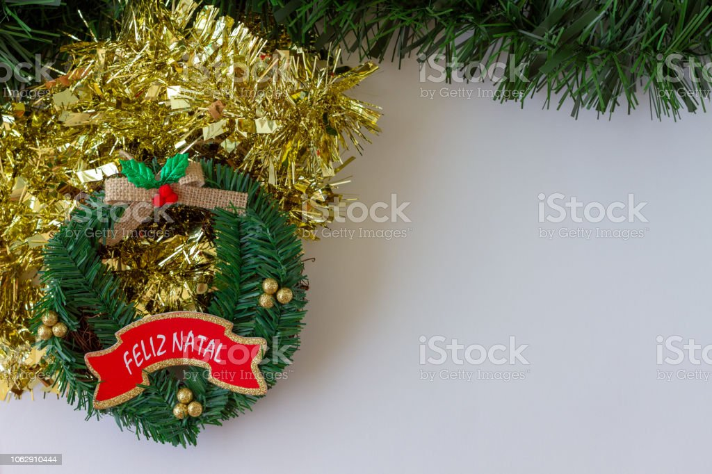 Christmas Decorations Merry Christmas Greeting Message Written In Portuguesefeliz Natal White Background Stock Photo Download Image Now