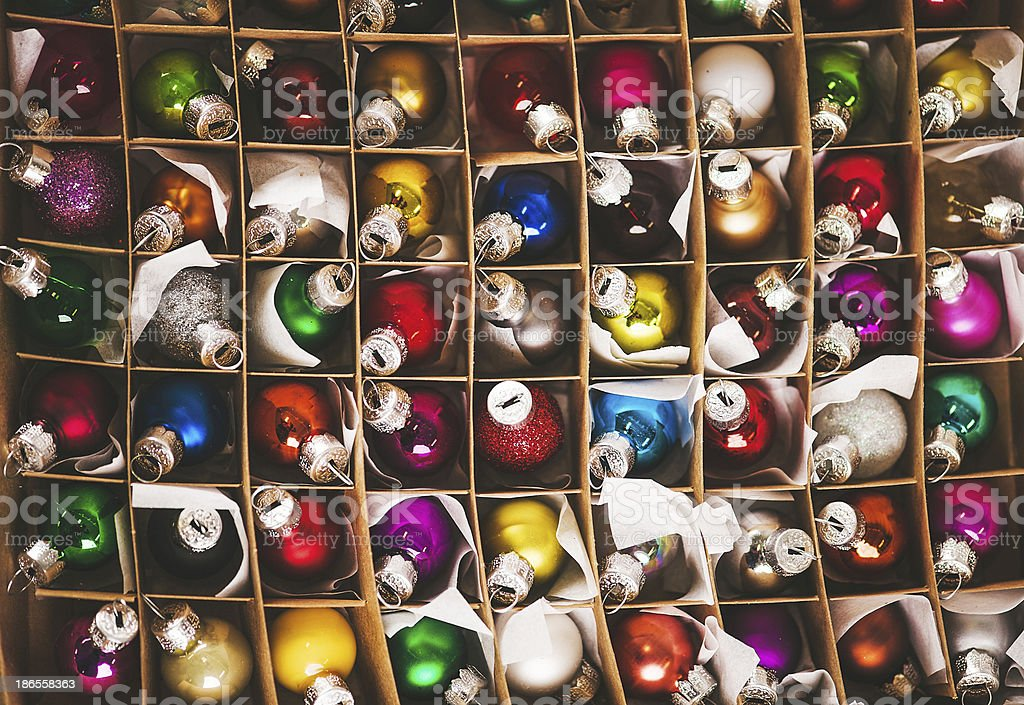 Christmas decorations multicolored baubles royalty-free stock photo
