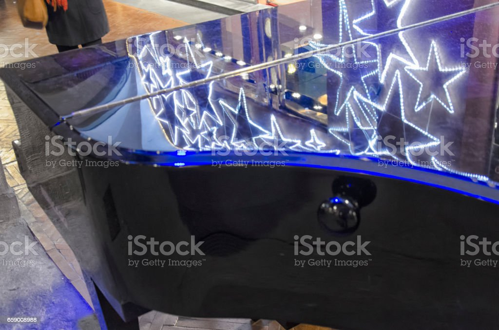 Christmas decorations on a grand piano royalty-free stock photo