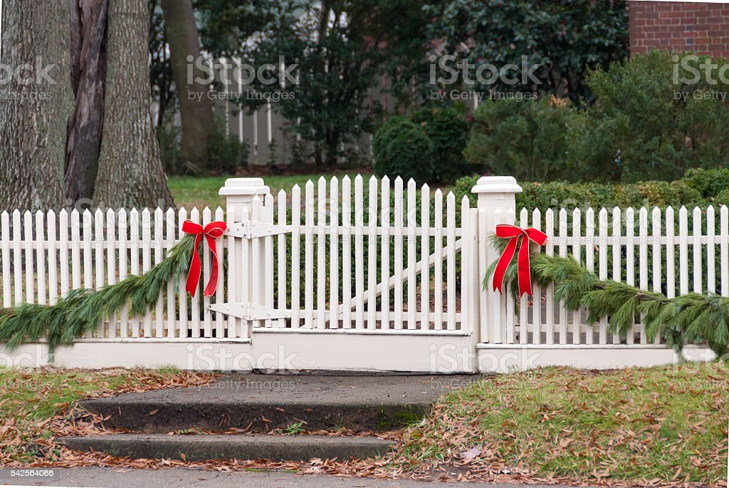Christmas Decorations On A Picket Fence Iii Stock Photo More