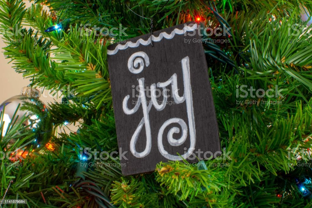 Christmas decorations on a tree stock photo