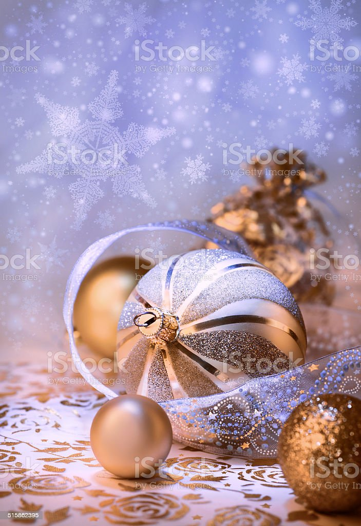 Christmas decorations on abstract background stock photo