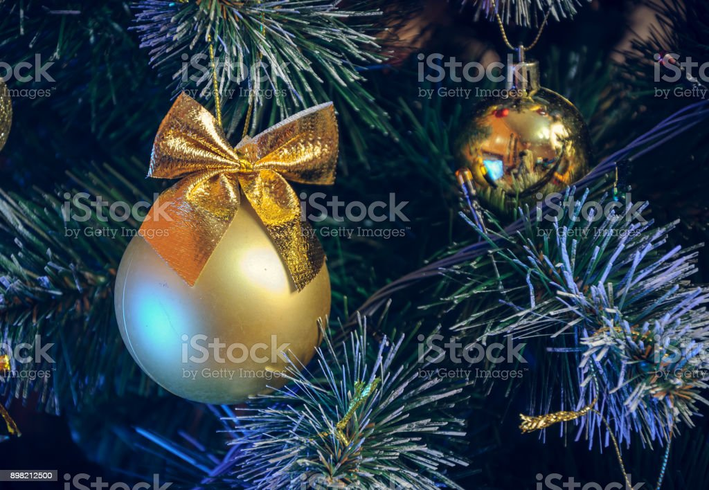 Vintage Artificial Christmas Trees.Christmas Decorations On An Artificial Christmas Tree A Photograph In A Vintage Style Stock Photo Download Image Now
