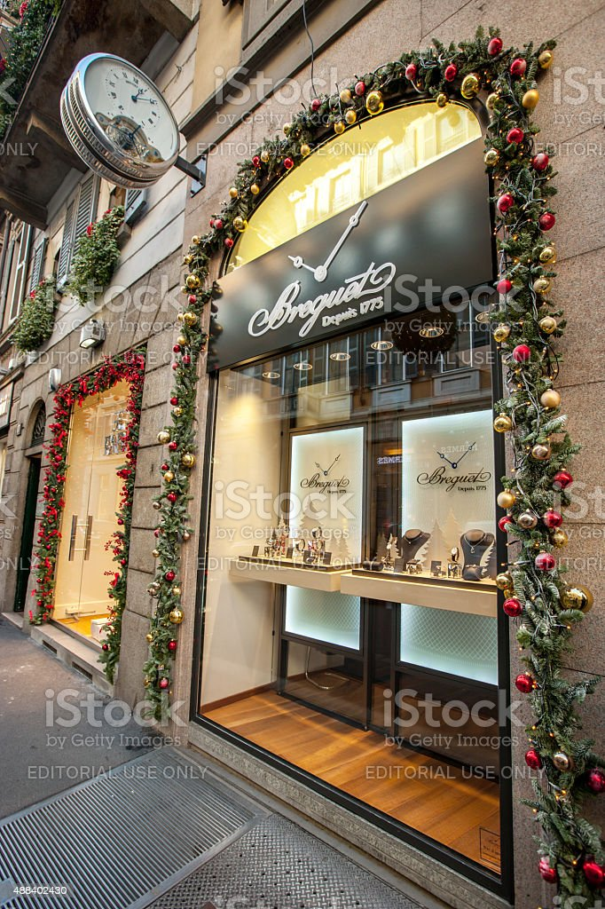 christmas decorations on breguet store milan royalty free stock photo