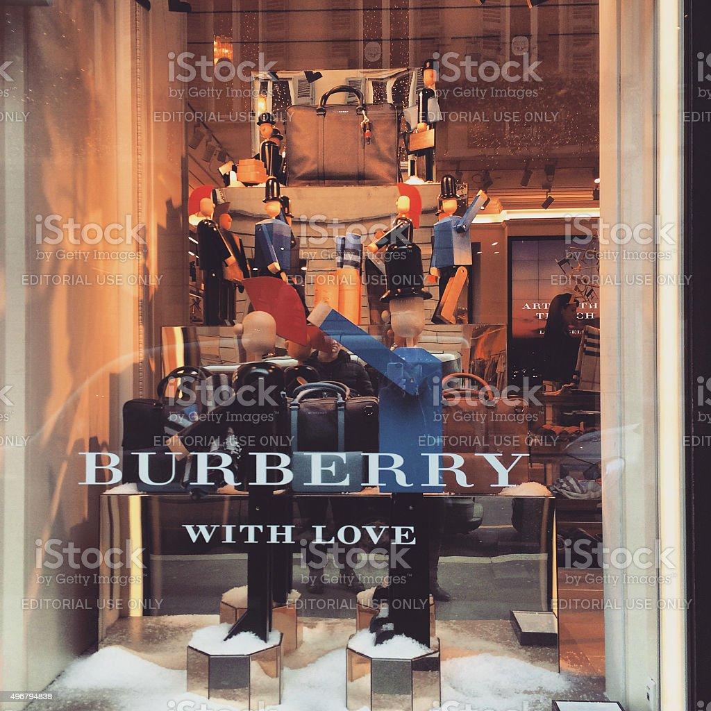 Christmas Decorations on Burberry window display, Milan stock photo