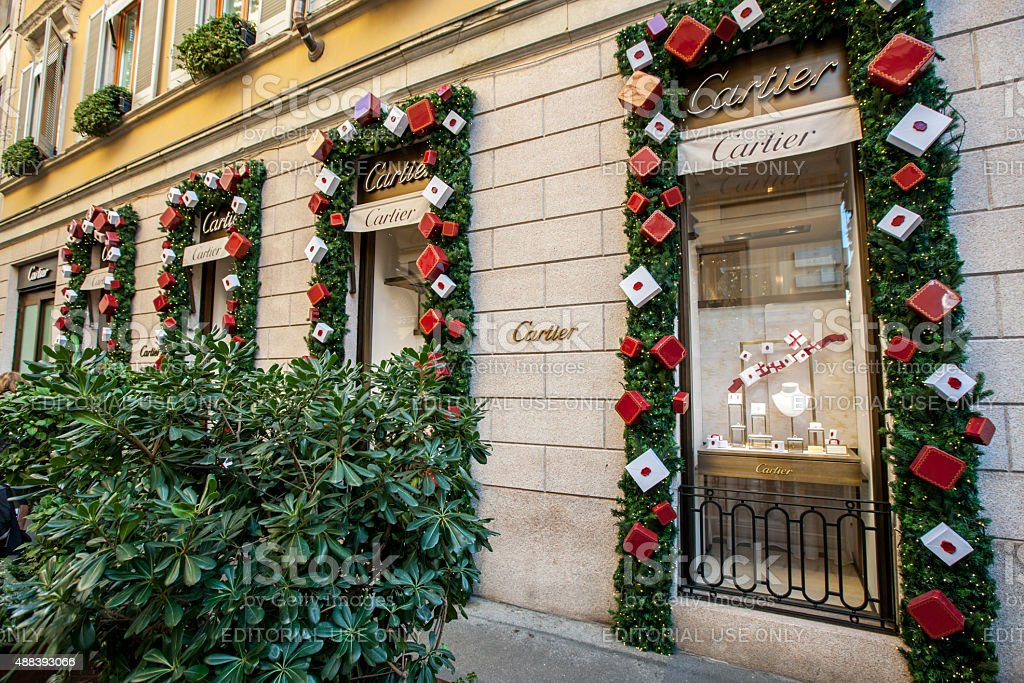 christmas decorations on cartier store milan royalty free stock photo