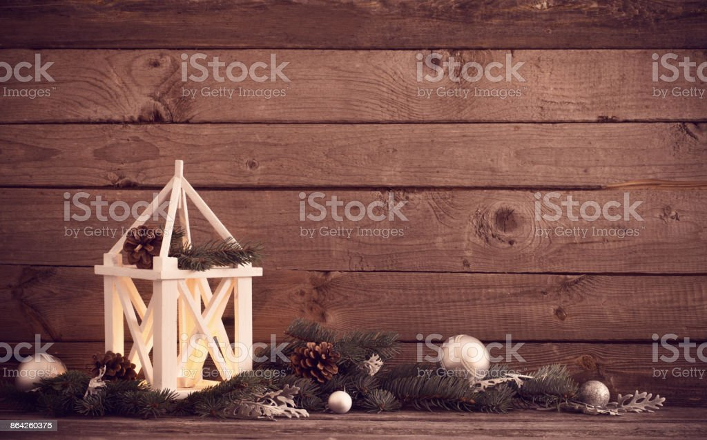 Christmas decorations on dark old wooden background royalty-free stock photo