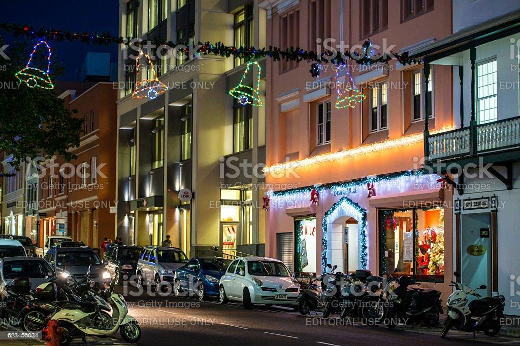 Christmas decorations on  Hamilton street, Bermuda stock photo