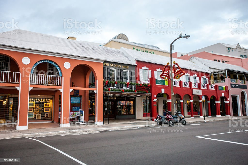 Christmas decorations on Hamilton streets, Bermuda stock photo