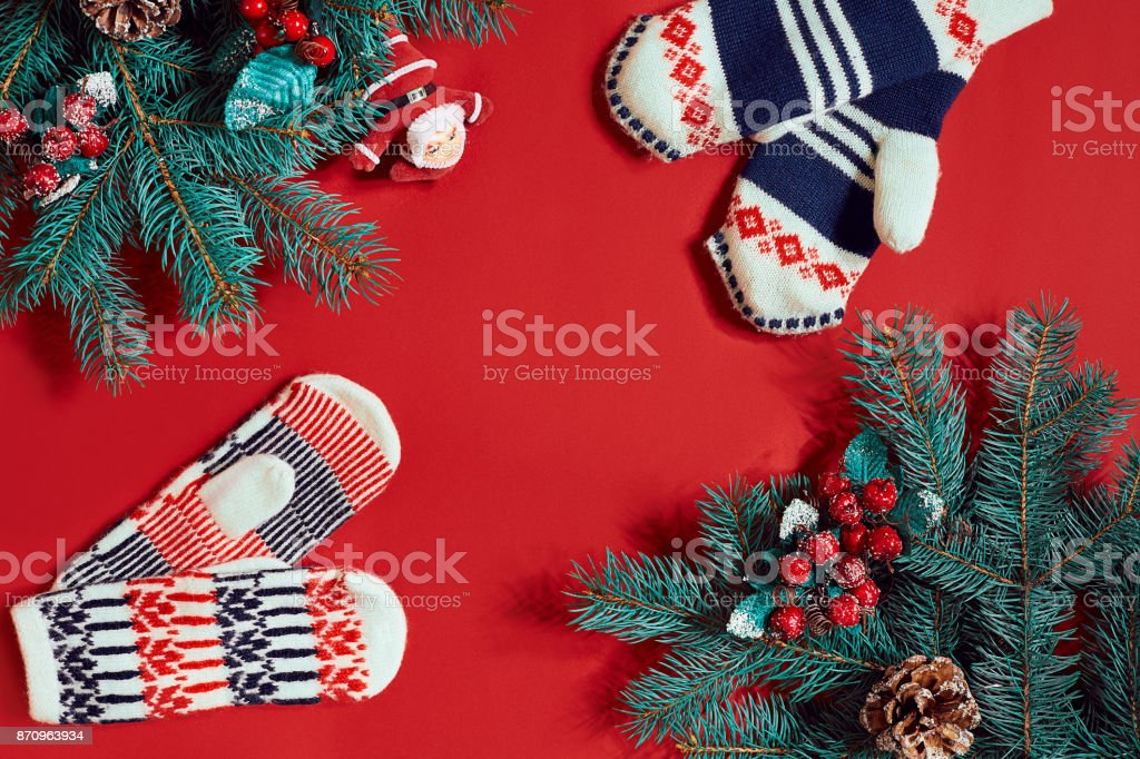 christmas decorations on hot red background christmas and new year theme place for your