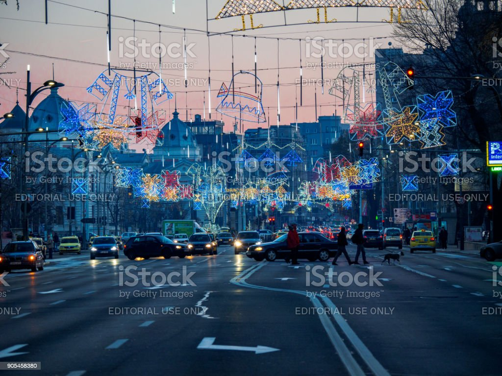Christmas decorations on Nicolae Balcescu Blvd. in Bucharest stock photo