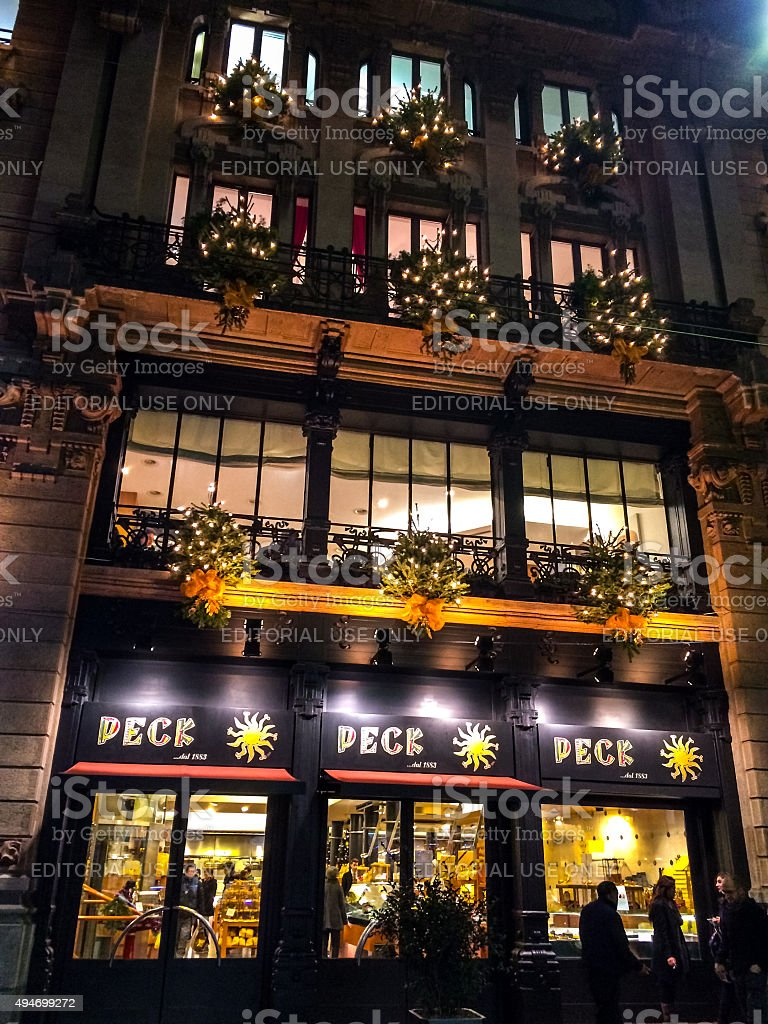 Christmas Decorations On Peck Food Store In Milan Stock