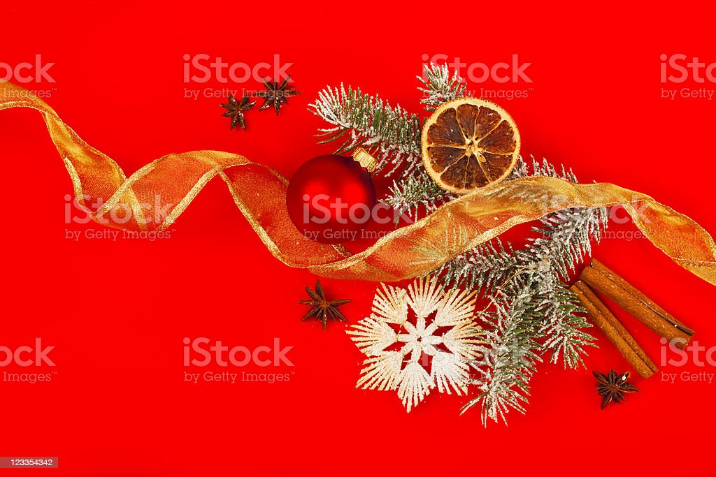 Christmas Decorations on Red Background royalty-free stock photo
