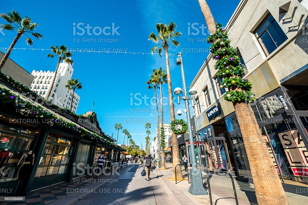 Christmas decorations on Santa Monica streets, USA stock photo