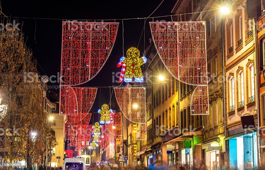 Christmas decorations on streets of Strasbourg. Alsace, France stock photo