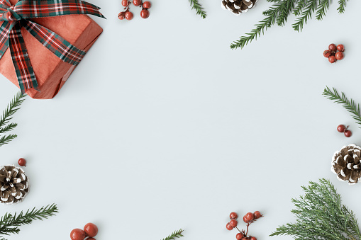 Christmas Decorations On Table Background Mockup Stock Photo Download Image Now