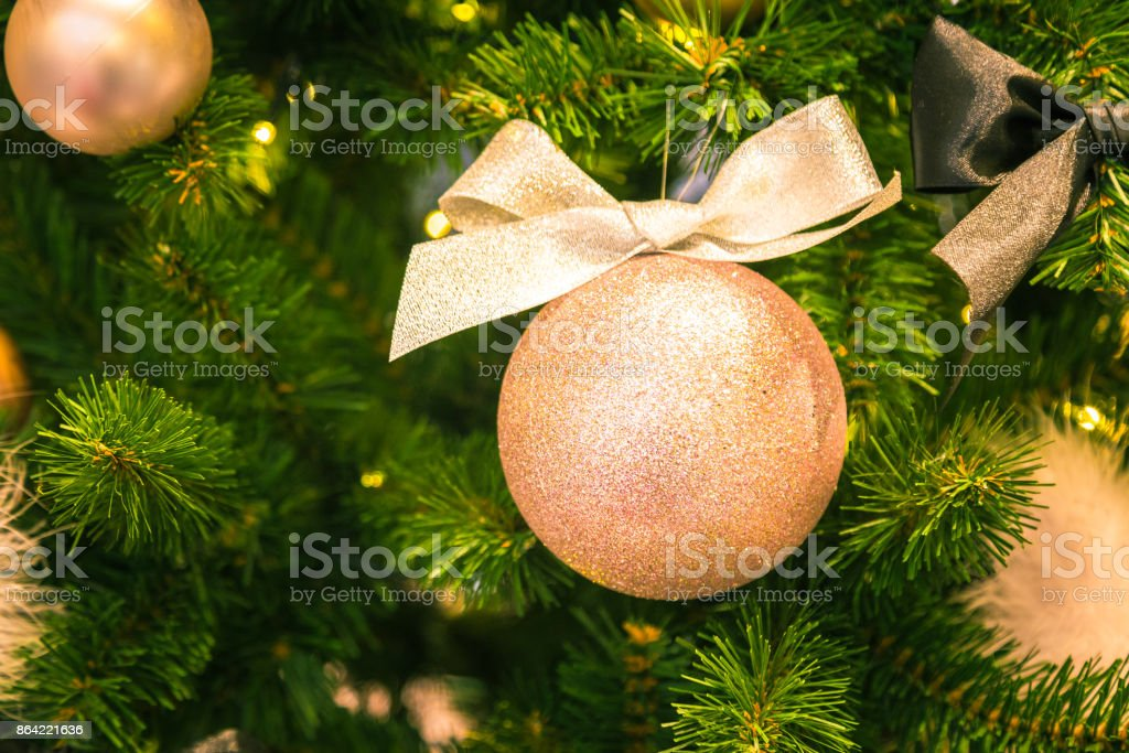 Christmas decorations on the branches of fir tree royalty-free stock photo