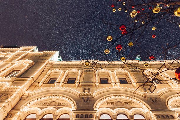 Christmas decorations on the Red Square, Moscow, Russia stock photo