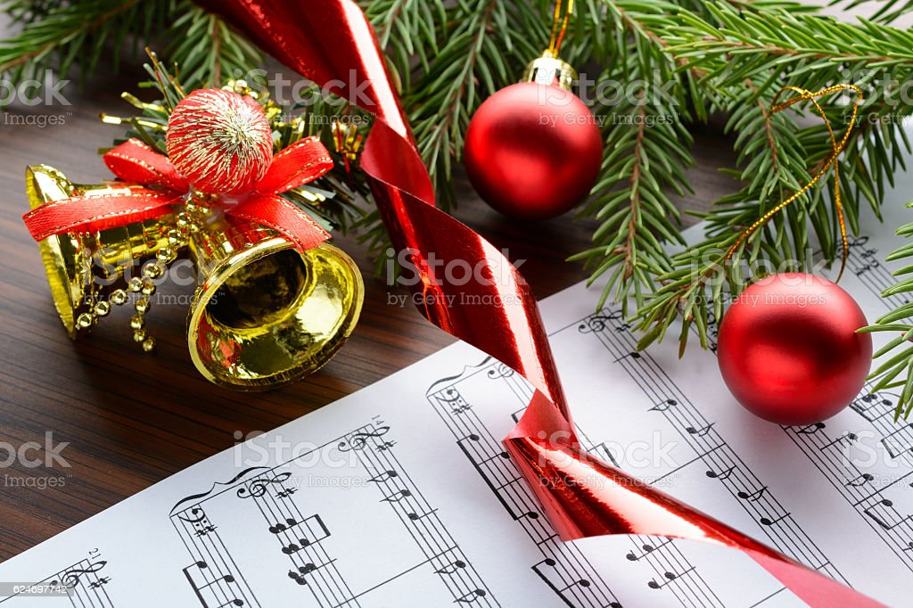 Christmas decorations on the sheets with notes stock photo