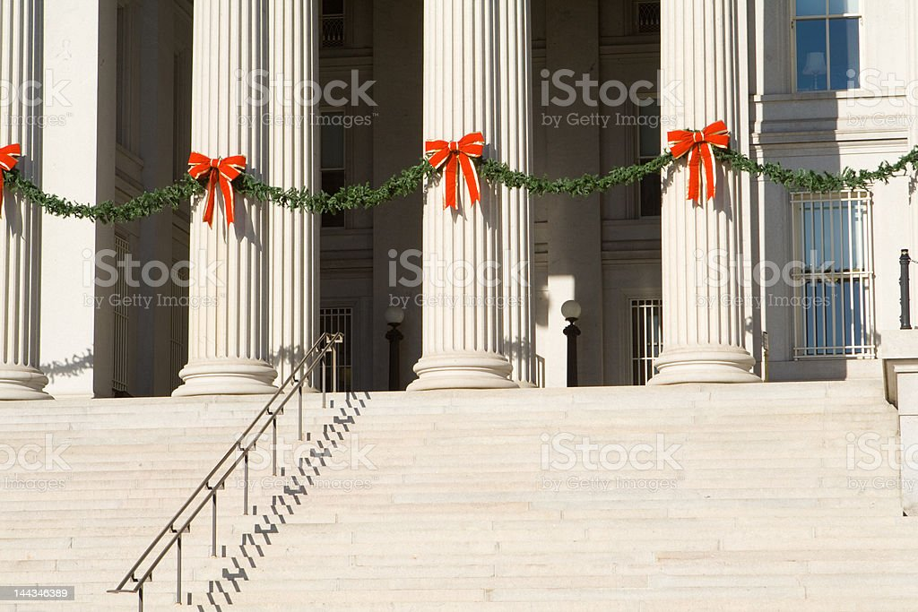christmas decorations on the steps columns us treasury building washington royalty free stock photo - Christmas Column Decorations