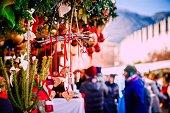 Colorful Christmas decorations on  Trentino Alto Adige, Italy Christmas market
