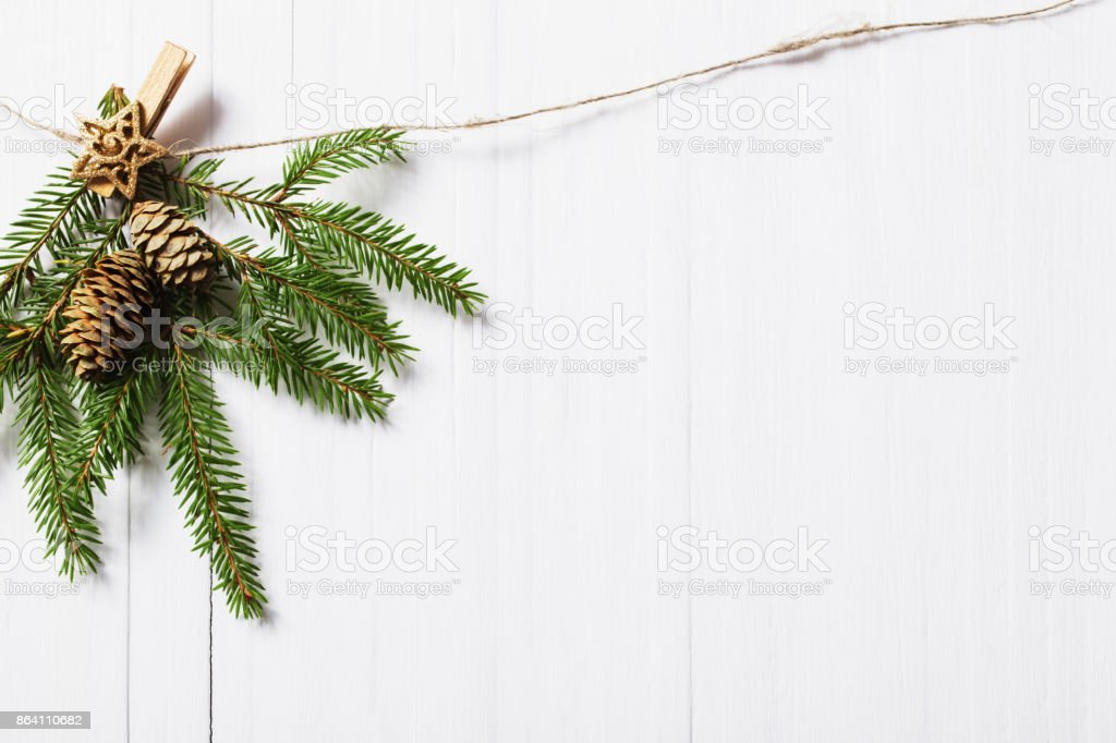 Christmas decorations on white wooden background royalty-free stock photo