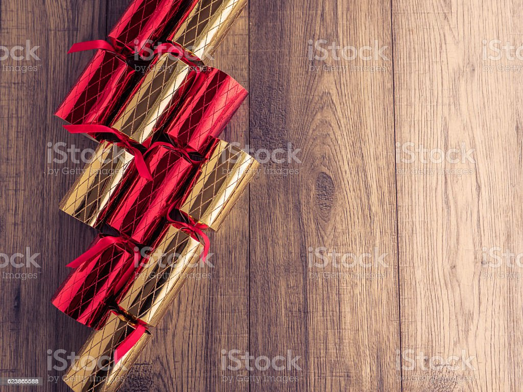 Christmas decorations on wood board background stock photo