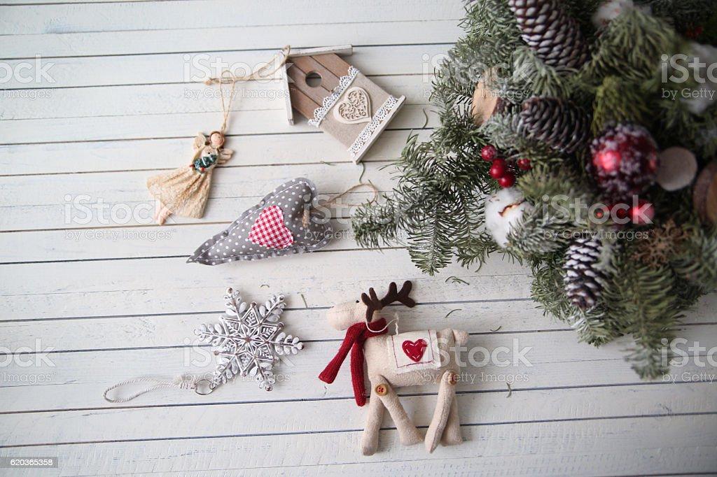 Boże Narodzenie dekoracje na drewnianym tle zbiór zdjęć royalty-free