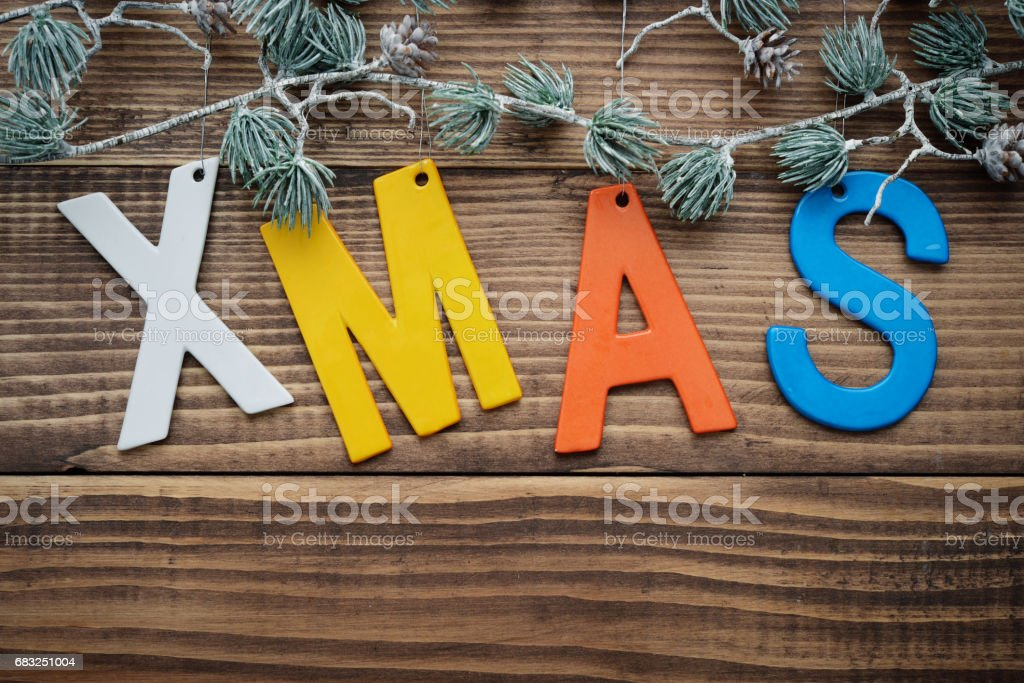 Christmas decorations on wooden background royalty-free 스톡 사진