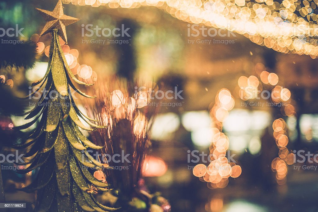 Christmas Decorations Outdoors at Night, Moscow, Russia, Europe stock photo