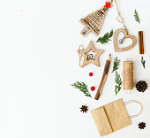 istock Christmas decorations over white background 876287168