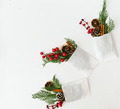 istock Christmas decorations over white background 876287172