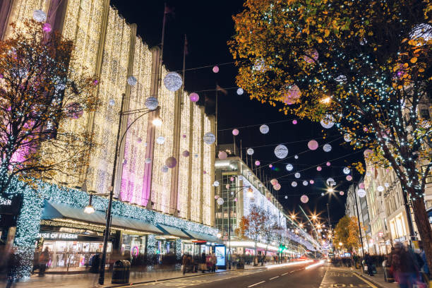 Christmas decorations, Oxford Street, central London stock photo