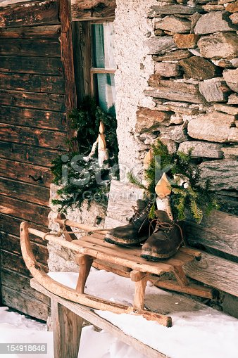 Special Christmas decorations outside a mountain hut (intentional colour manipulation)